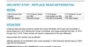 Richiamo BMW Differenziale Posteriore