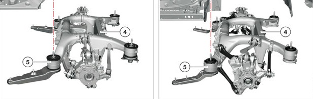 BMW Serie 5 F10 - BMW Serie 5 G30 - Rear Suspension Comparison
