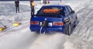 BMW M3 E30 sul ghiaccio, un frame del video